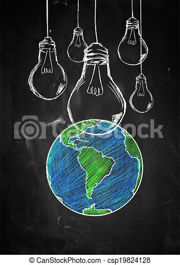Clip Art Of Light Up The World Sketch Blackboard