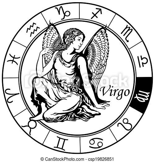 Vecteur Vierge Zodiaque Noir Blanc Banque Dillustrations