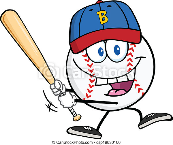 Vector Clipart of Baseball Ball With A Baseball Bat - Happy ...