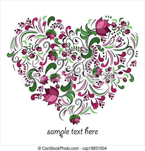 Clipart vecteur de vecteur coeur clair fait fleurs clair coeur fait - Coeur avec des fleurs ...