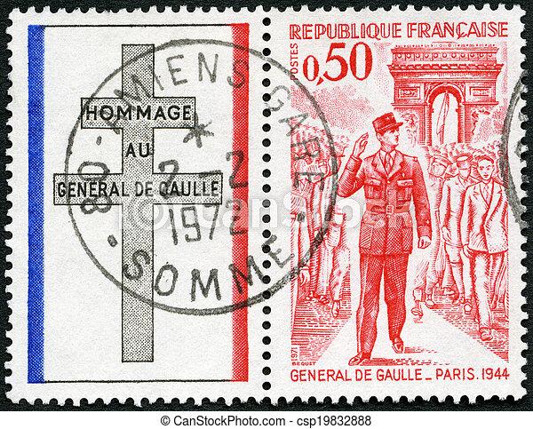 FRANCE - 1971: shows General de Gaulle entering Paris, 1944 - csp19832888