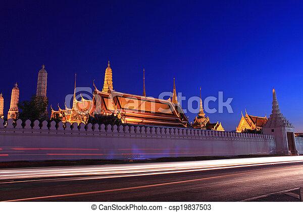 Grand palace at night, Thailand - csp19837503