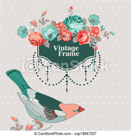 Vintage Card - with Retro Frame, Bird and Flowers - with place for your text - in vector - csp19847207