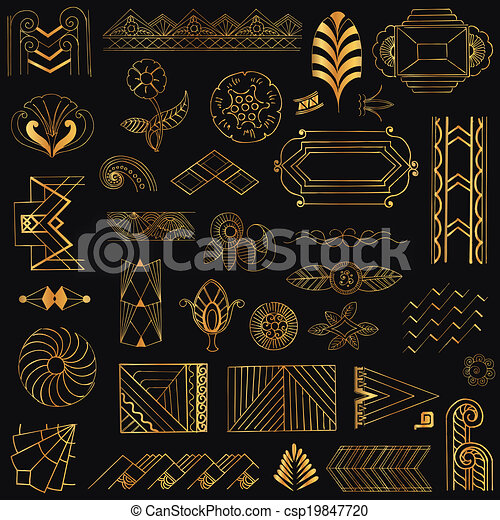 Art Deco Vintage Frames and Design Elements - hand drawn - in vector - csp19847720