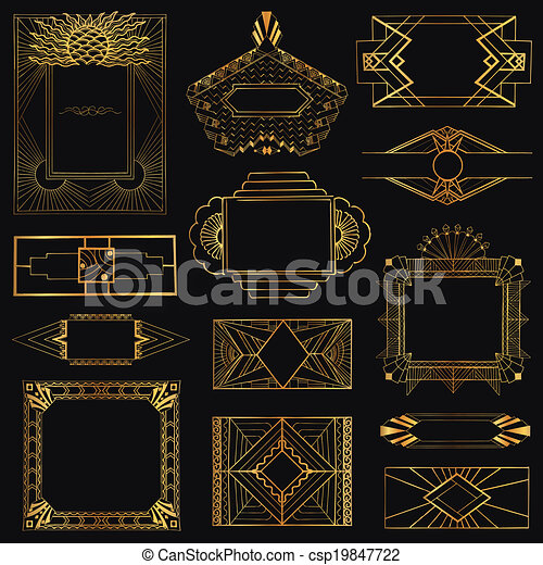 Art Deco Vintage Frames and Design Elements - hand drawn - in vector - csp19847722