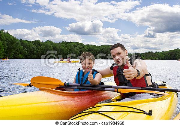 godere,  kayaking, padre, figlio - csp1984968