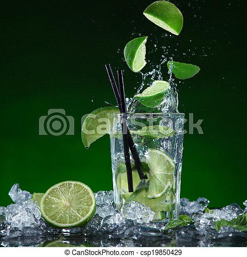 Fresh fruit cocktail in freeze motion splashing - csp19850429