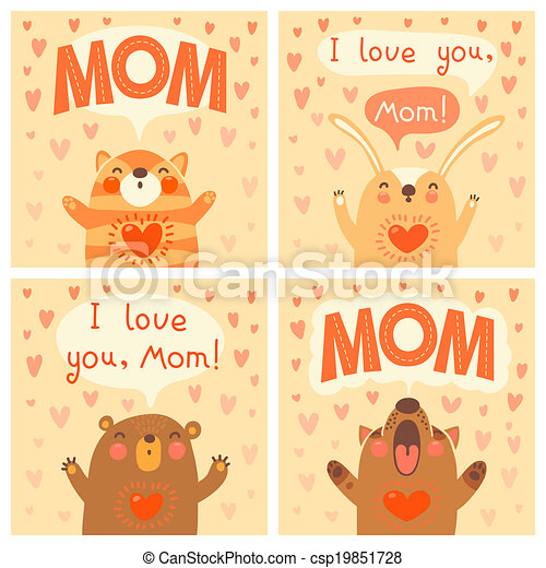 Greeting card for mom with cute animals. - csp19851728