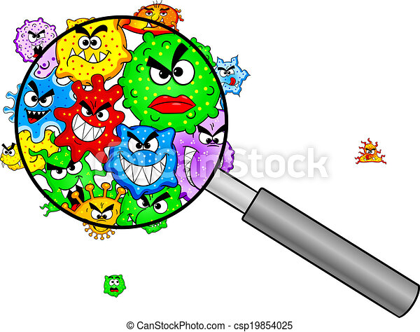 Clip Art Bacteria Clipart bacteria clipart and stock illustrations 15414 vector under a magnifying glass illustration of