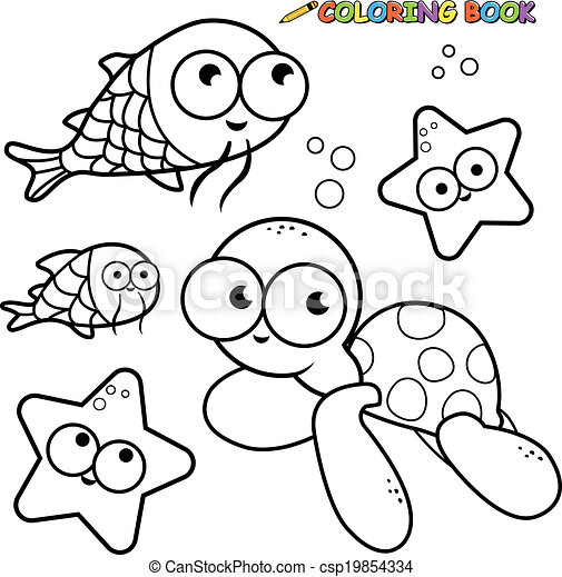 Coloring book sea animals set - csp19854334