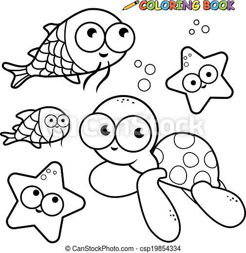 海里面的动物简笔画图片