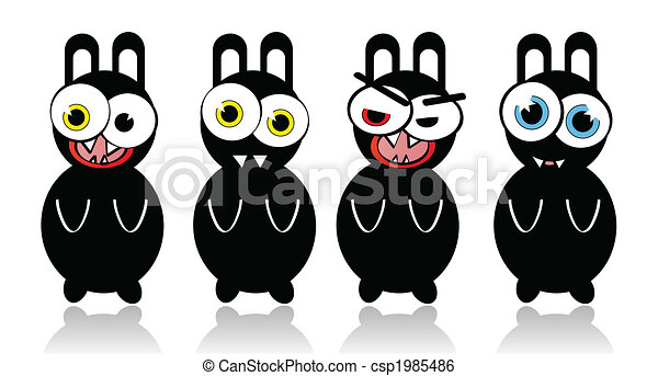 Crazy vector rabbits with different emotions - csp1985486