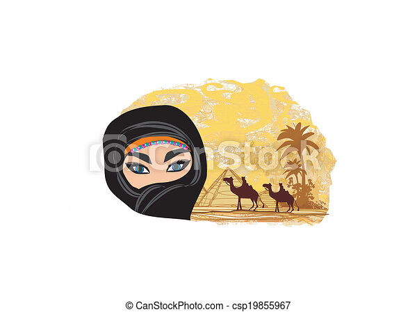 Clip Art de vectores de rabe mujer desierto  Arabian mujer