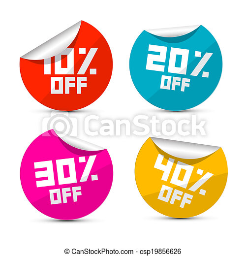 Vector 10% off, 20% off, 30% off, 40% off Stickers, Labels - csp19856626