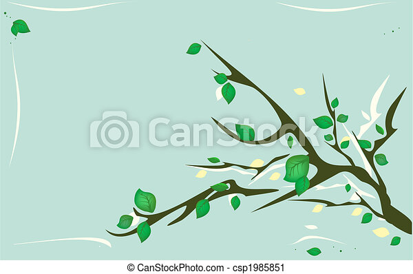 tree branch with green leaves - csp1985851