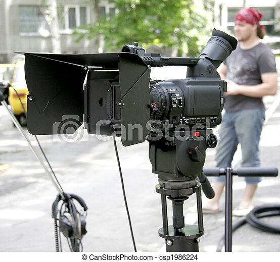 stand hd-camcorder on nature - csp1986224