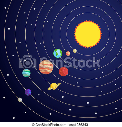 Vectors of Solar system concept with sun planet orbits and ...