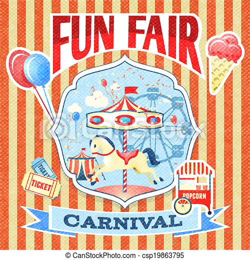 Fun Fair Drawing Vintage Carnival Fun Fair