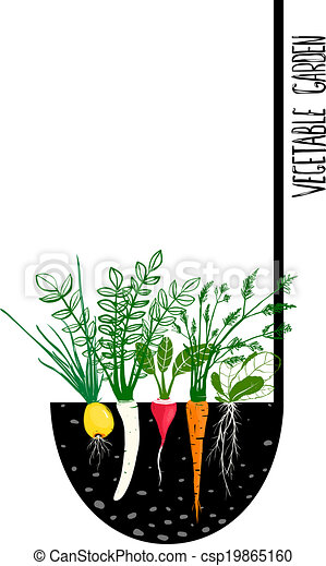 Clip Art Vector of Grow Vegetable Garden and Cook Soup Food