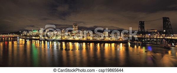 Portland City Skyline with Bridges at Night - csp19865644