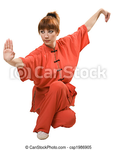 young woman makes kung-fu exercise - csp1986905