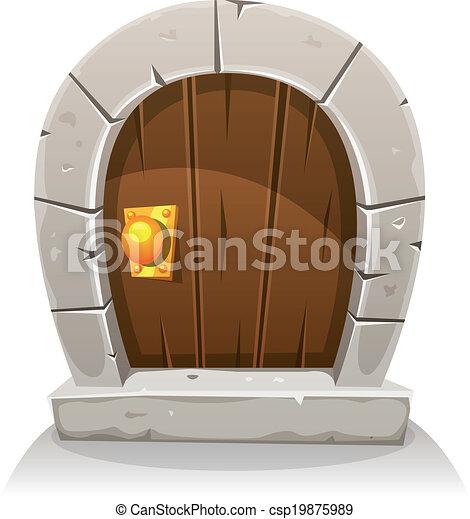 Vecteur dessin anim bois et pierre hobbit porte for Porte hobbit