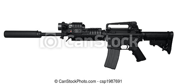 AR-15 Assault rifle side view - csp1987691