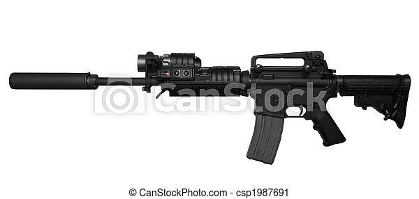 AR-15 Assault rifle side view - csp1987691