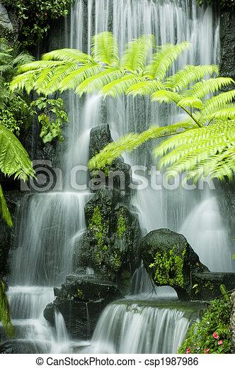 japonés, jardín, cascadas - csp1987986