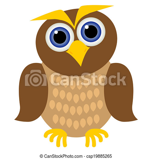 Clip art vector of clever owl clever brown owl with blue for Owl beak drawing