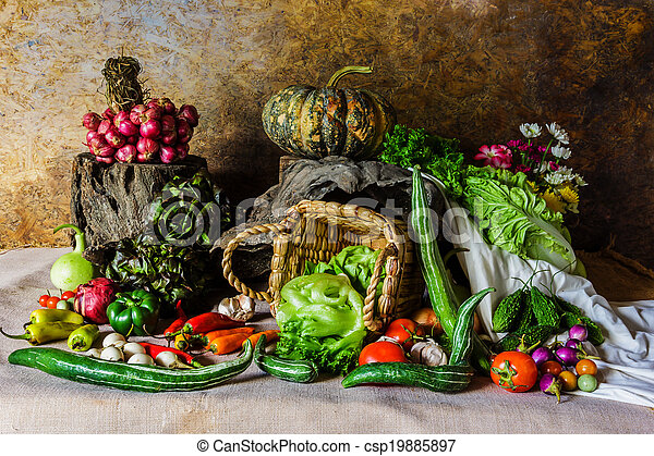 still life  Vegetables, Herbs and Fruit. - csp19885897