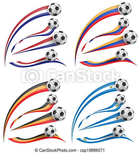flag set whit soccer ball - csp19886071