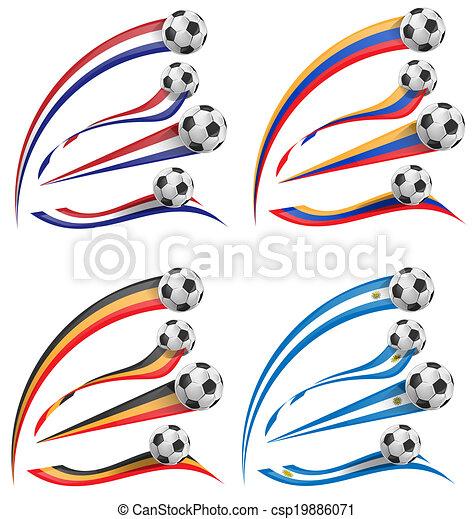 flag set whit soccer ball   - csp19886071