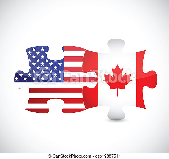 Vector Clip Art of usa and canada flag puzzle pieces illustration ...