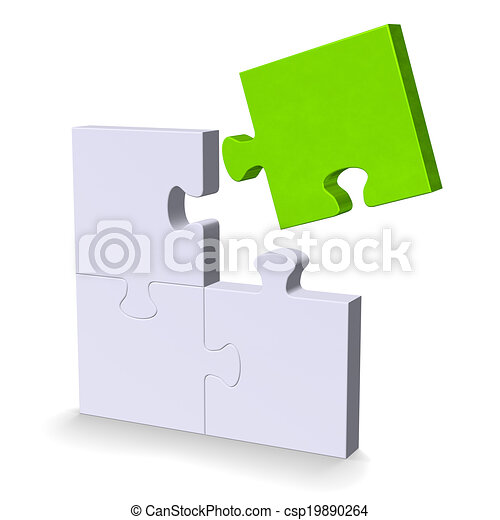 3d puzzle with green flying missing piece - csp19890264