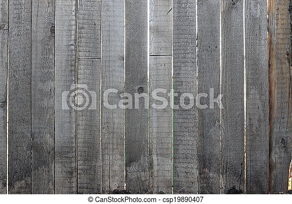 Grey wooden fence, close-up - csp19890407