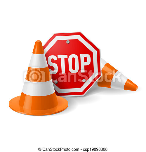 Traffic cones and red stop sign - csp19898308