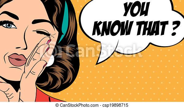 pop art retro woman in comics style - csp19898715