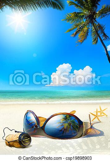 Art romantic sea beach. Women's Glasses and Champagne cork on sa - csp19898903