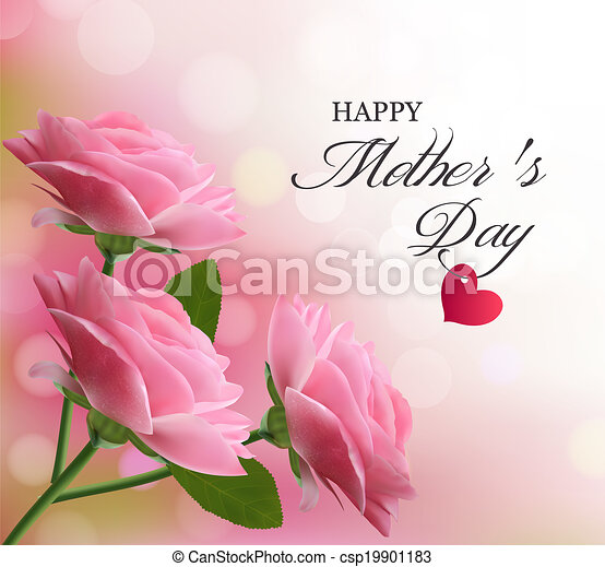 Holiday background with pink beautiful flowers. Mother's Day. Vector. - csp19901183