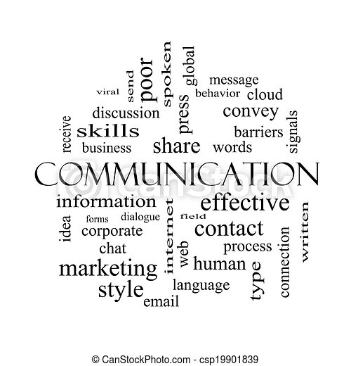 Communication Word Cloud Concept in black and white