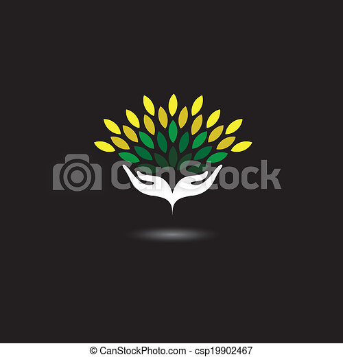 eco friendly icon with girls hands and green leaves - concept vector. The graphic illustration also represents nature protection, ecology, environment conservation, spa, etc - csp19902467