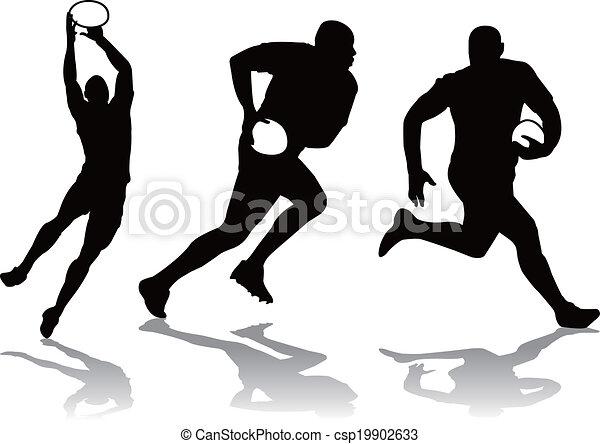 Vecteurs de joueur silhouette rugby trois trois rugby joueur csp19902633 recherchez - Dessin de joueur de rugby ...