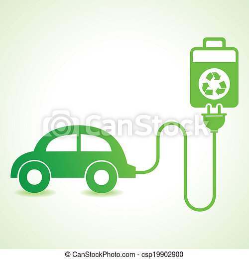 Vector Clipart Of Electric Car Charged By A Eco Cell Concept Stock