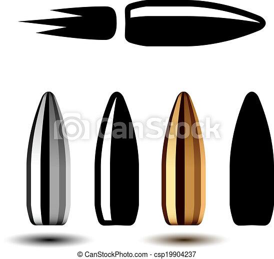 vector drawing weapon gun bullets - csp19904237