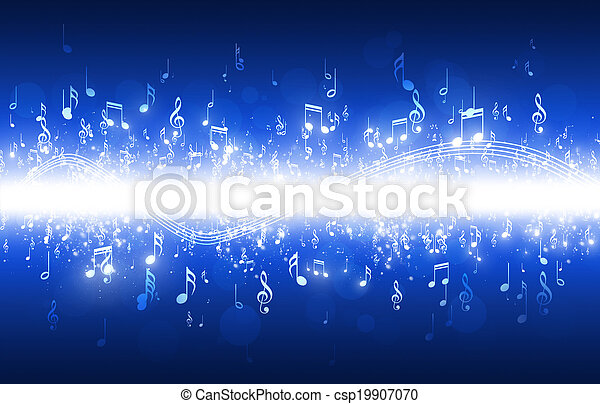 Music Notes Blue Background - csp19907070
