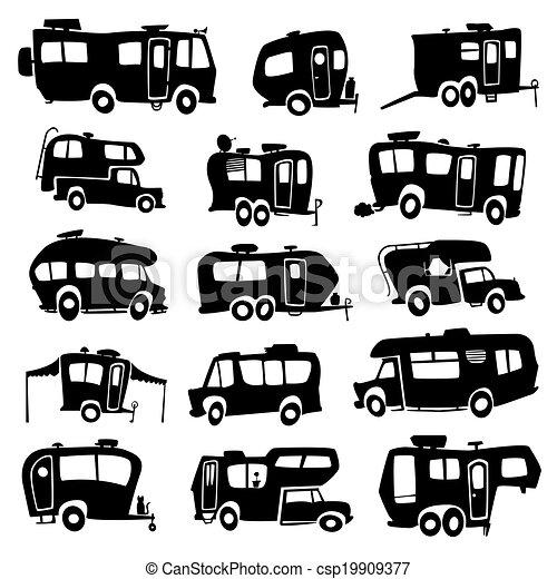 vectors illustration of recreational vehicles icons Lake Scene Clip Art Free lake house clip art free