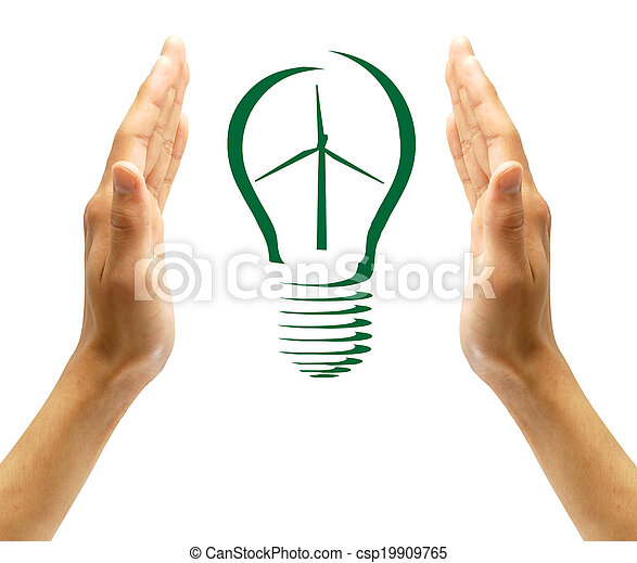 Concept Wind turbine  in light bulb symbol of renewable energy  - csp19909765