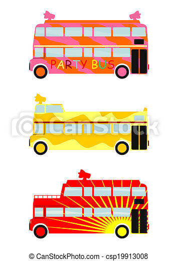 Vector Clipart of Party bus. - Colrful party buses ...