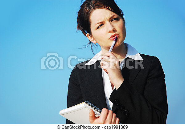Businesswoman with notepad